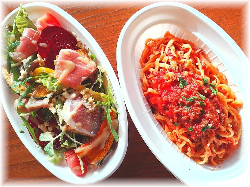 お持帰り自家製生パスタと彩り野菜のシフォンサラダ