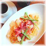 白桃と生ハムの冷製パスタ~桃風味のジュレ